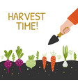 harvest time bright banner man is harvesting in a vector image