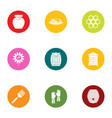 harvesting honey icons set flat style vector image