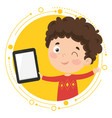 kid using tablet pc vector image vector image