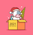 little ox in santa hat sitting in cardboard box vector image
