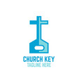 modern key and church logo vector image vector image