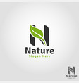 nature leaf - letter n logo template vector image
