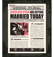Newspaper Style Wedding Invitation Design Template vector image vector image