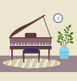 piano or grand piano mat stool home interior vector image