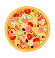 pizza with meat pepperoni tomato and vegetables vector image vector image