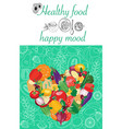 poster with fresh organic vegetables heart vector image vector image