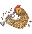 rooster with trumpet vector image