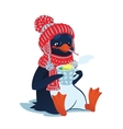 Sad sick penguin with thermometer and hot drink vector image vector image