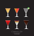 set of 6 cocktails vector image