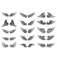 set of bird wings in tattoo style design element vector image vector image