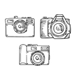 Set of doodle photo cameras hand draw vector image