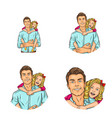 set pop art round avatar icon for users vector image