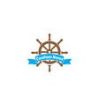 ship wheel with a banner for logo design vector image