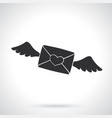 silhouette closed envelope wax heart and wings vector image