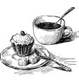 sketch coffee cup with teaspoon and cupcake vector image