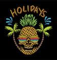 skull pinapple holidays vector image vector image