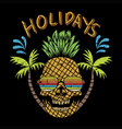 skull pineapple holidays vector image