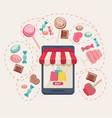 sweet shop online store vector image vector image