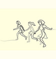 three runners - continuous line drawing vector image vector image