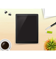 Top view of stationary pen pencil eraser tablet vector image