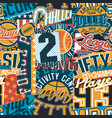 vintage american college sport graphic patchwork vector image vector image
