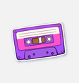 violet retro audio cassette with pink stripe vector image vector image