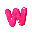 w magenta glossy bright english letter kids font vector image