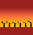 workers show their tool up in silhouette vector image