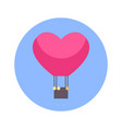flying air balloon in heart shape icon on blue vector image