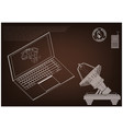 3d model of a laptop and an antenna vector image vector image