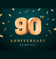 90th anniversary sign with falling confetti vector image
