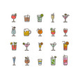 alcohol bar color thin line icon set vector image vector image