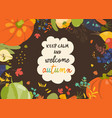 autumn nature frame fall season with vegetables vector image vector image