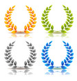 awards and laurel leaves wreath set vector image