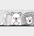 bird with bear and lion animal friends vector image