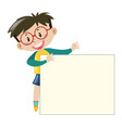 boy with glasses holding paper vector image vector image
