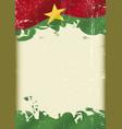 burkina faso flag grunge background vector image vector image
