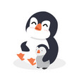 cartoon penguin hug with bapenguin vector image