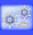 christmas card with snowflakes and congratulation vector image vector image