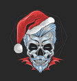 christmas santa claus skull artwork vector image
