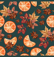 christmas seamless pattern with oranges and anise vector image vector image