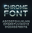 chrome metal font steel metallic alphabet vector image