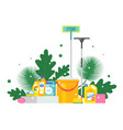 cleaning products and fresh green leaves vector image
