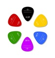 Colorful plectrums on white background design vector image vector image