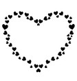 cute black heart shaped frame for valentines love vector image vector image