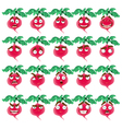 cute cartoon radish smile with many expressions vector image vector image