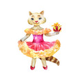 funny cat in a pink dress with a gift vector image vector image