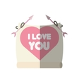 greeting i love you heart arrow ribbon shadow vector image