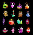 halloween witch potion elixir and poison bottles vector image