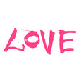 hand written pink lettering love vector image vector image